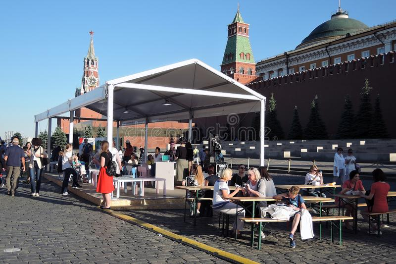 The Red Square Book Fair in Moscow. Place: Moscow, Red Square. Free entrance public event. Color photo. Date: June 04, 2019 royalty free stock photo