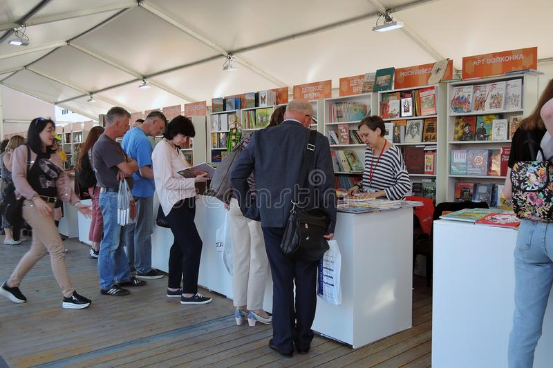 The Red Square Book Fair in Moscow. stock image