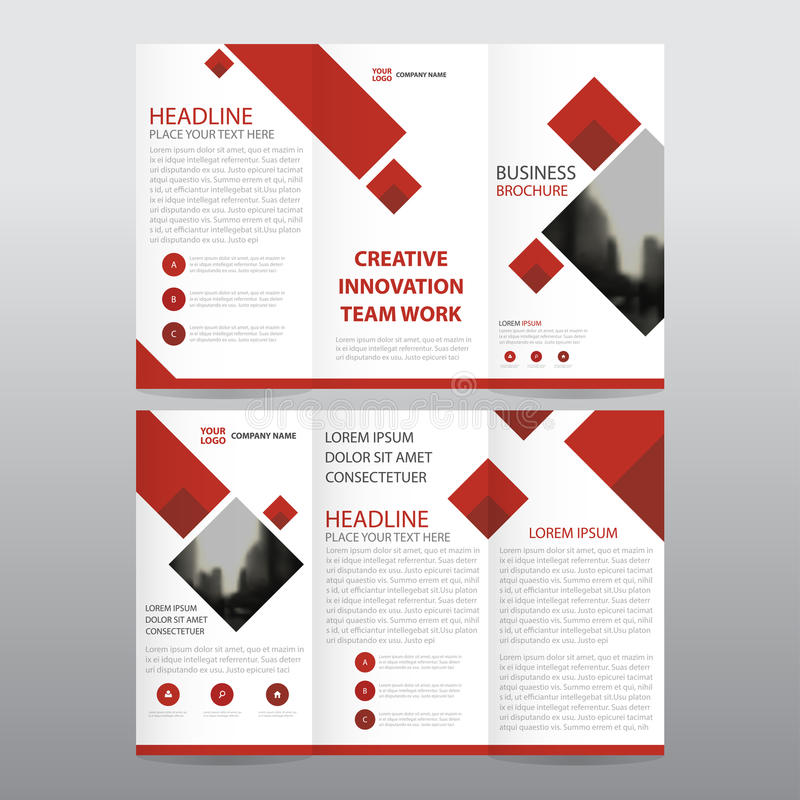 Red square business trifold Leaflet Brochure Flyer report template vector minimal flat design set, abstract three fold stock illustration