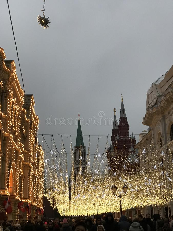 red square gum 2018 new year lights stock photography