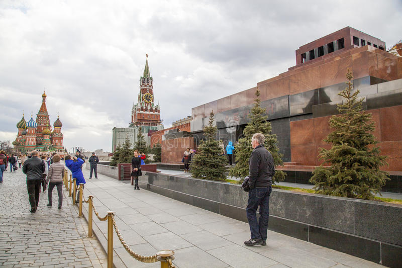 Red Square. Lenin's mausoleum. Spasskaya tower with chime on it. St. Basil's Cathedral on Red Square. Moscow. Russia stock photo
