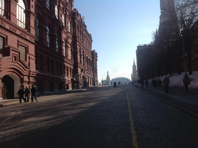Red Square in Moscow. Historical museum and Red Square in Moscow, Russia. Towers of Moscow Kremlin. Old buildings. Red brick. Famous place stock photos