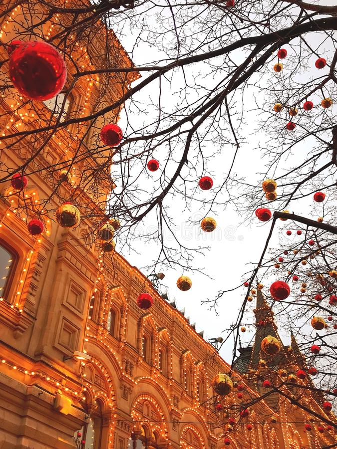 red square moscow new year lighting stock photo