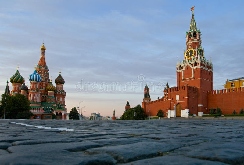 Red Square Moscow and St. Basil Cathedral stock photography