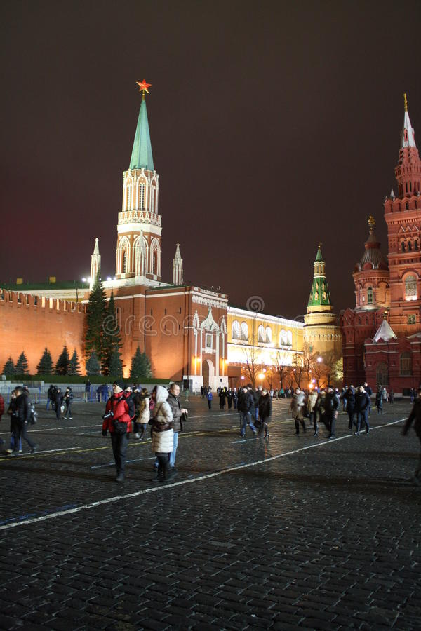 Red square at night. Moscow royalty free stock photography