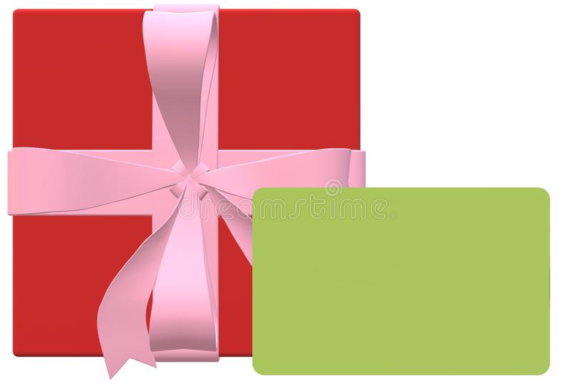 A red square present gift box with pink ribbon bow and a blank green gift card top down view royalty free illustration
