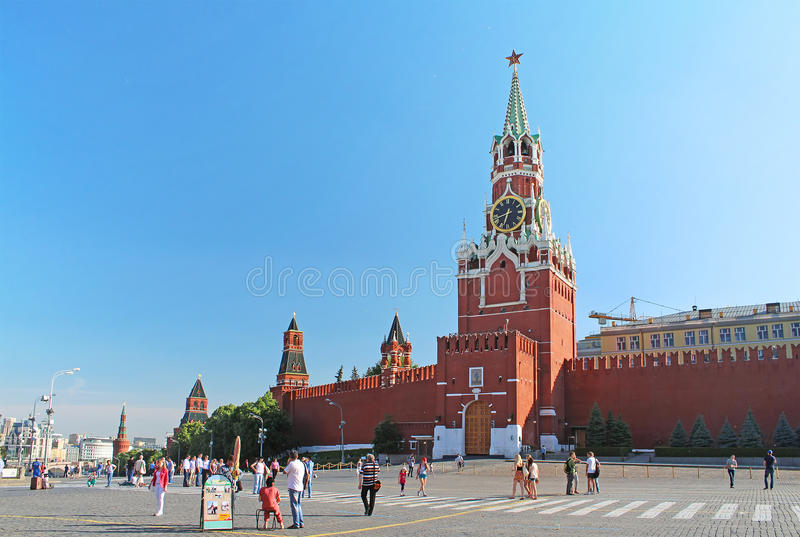 Red Square with Spasskaya Tower in Moscow, Russia stock image