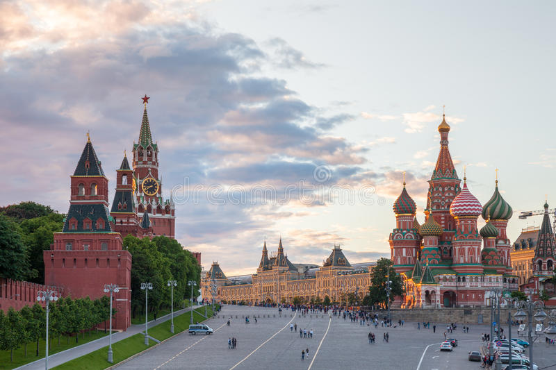 Red Square at sunset, Russia. Moscow, Russia - June 17, 2017: Beautiful sunset view of the Red Square on June 17, 2017 in Moscow, Russia stock photos