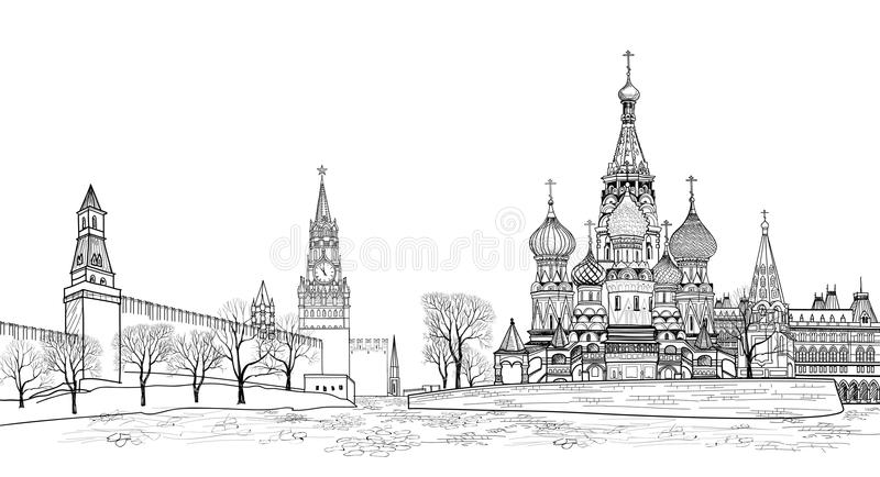 Red square view, Moscow, Russia Travel Russia background. Kremlin city view vector illustration