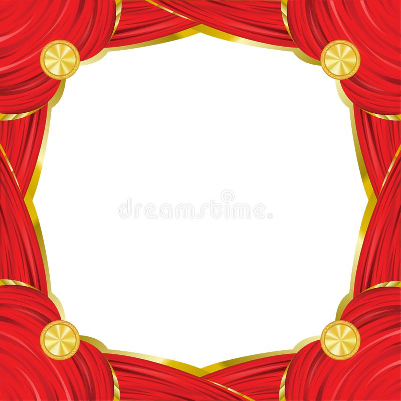 Red square vintage frame with red curtain effect. stock illustration