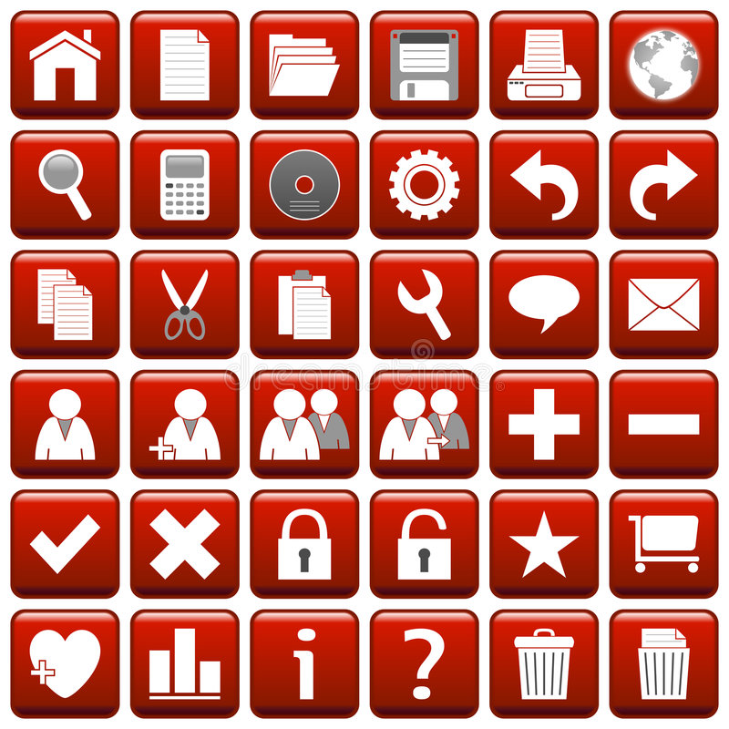 Red Square Web Buttons [1] stock illustration