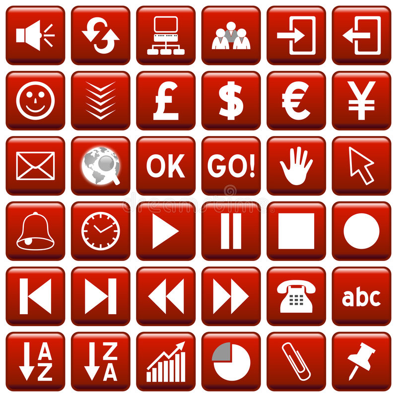 Download Red Square Web Buttons [3] Royalty Free Stock Image - Image: 4923776