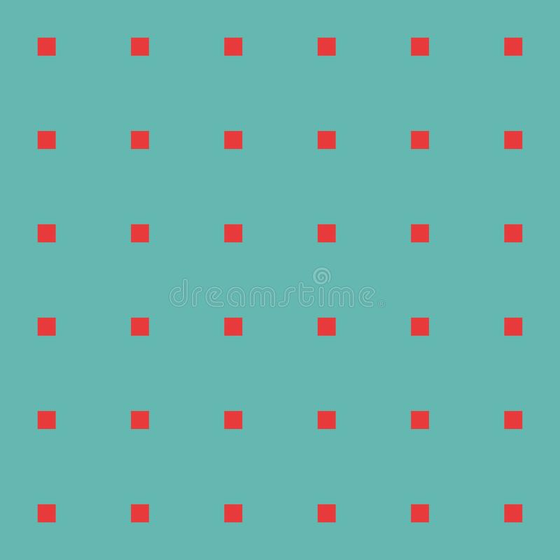Red squares on green background seamless vector pattern. royalty free stock photography