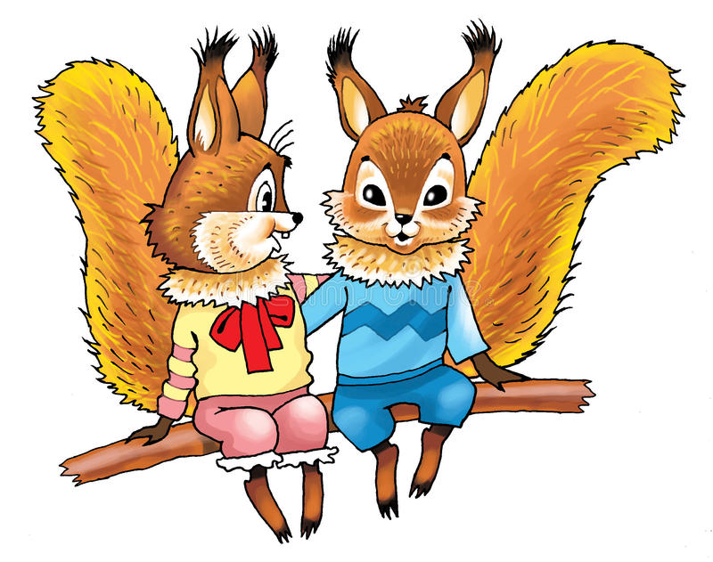 Download Red squirrels stock illustration. Image of tale, jumps - 83704496