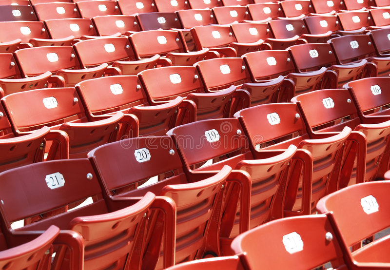 Red Stadium Chairs. Fronts of red stadium chairs at millenium park in Chicago royalty free stock photography