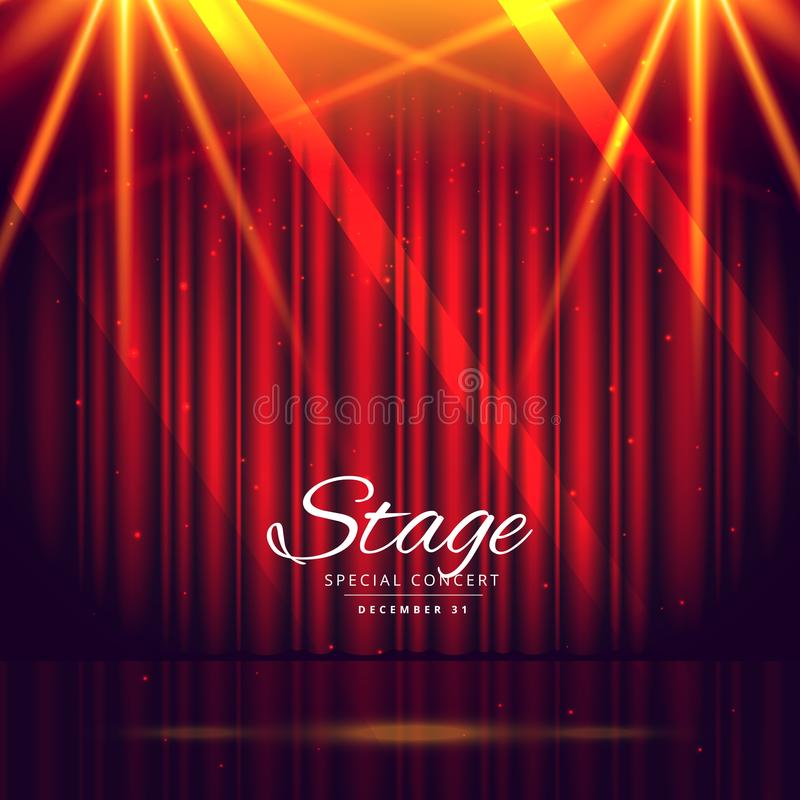 Red stage background with closed curtains stock illustration