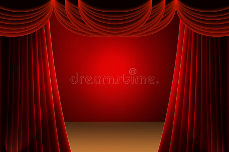 Red stage curtain. With spotlight stock images
