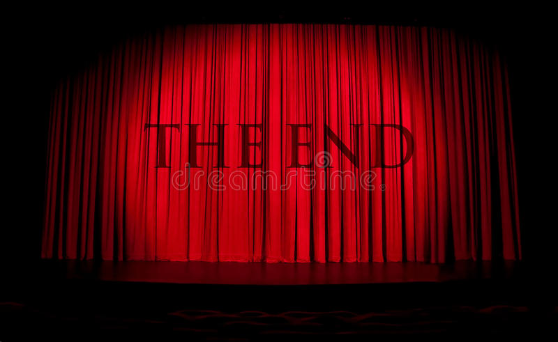 Red stage curtain with spotlight and stock photos