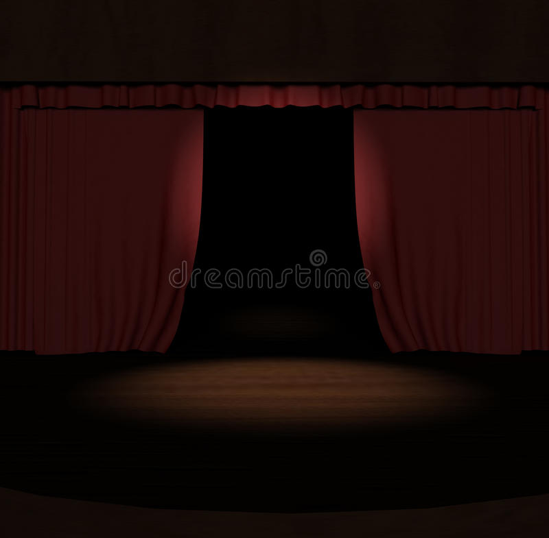 Red Stage Curtain With Spotlight On Stage Royalty Free Stock Image
