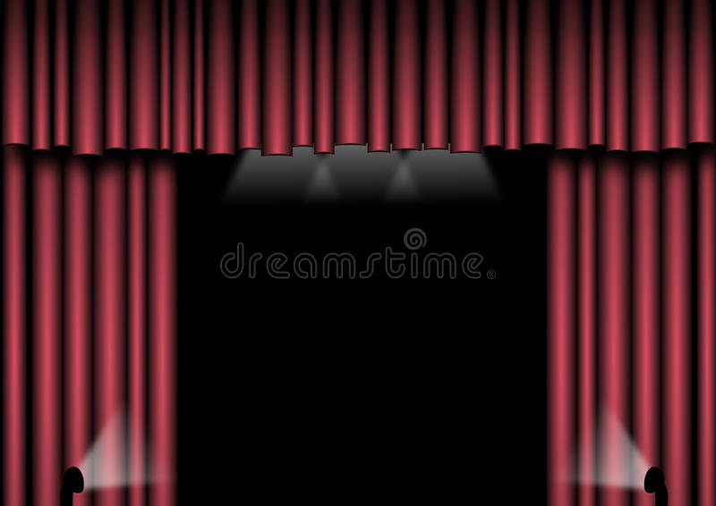 Download Red Stage Curtains stock illustration. Illustration of drapes - 12825317