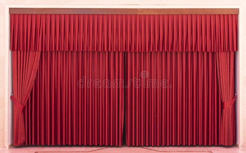 Red Stage Curtains and Empty Seats. Red background, stage Curtain royalty free stock images