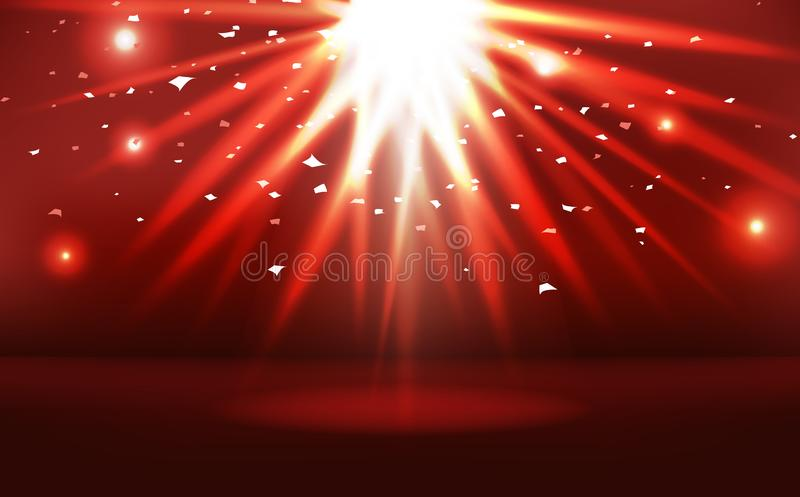 Red stage with sunburst neon bright effect celebration award, light scatter abstract background vector illustration. Red stage with sunburst spotlight neon vector illustration