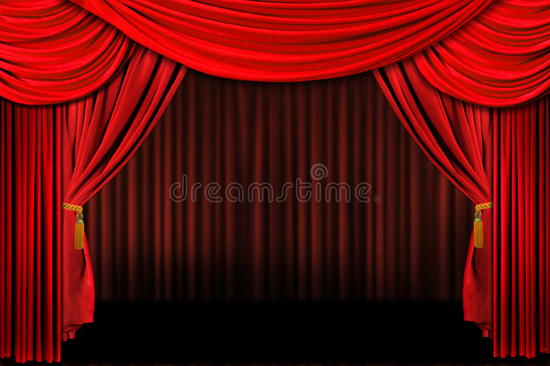 Red On Stage Theater Drapes royalty free stock photography