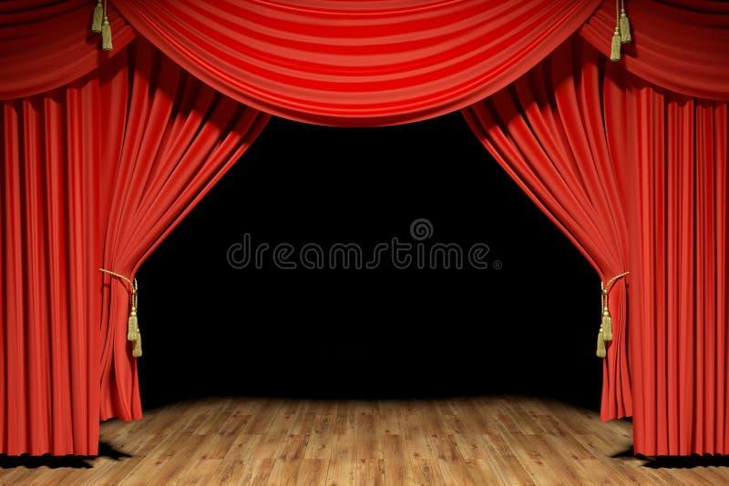 Red stage theater velvet drapes royalty free illustration