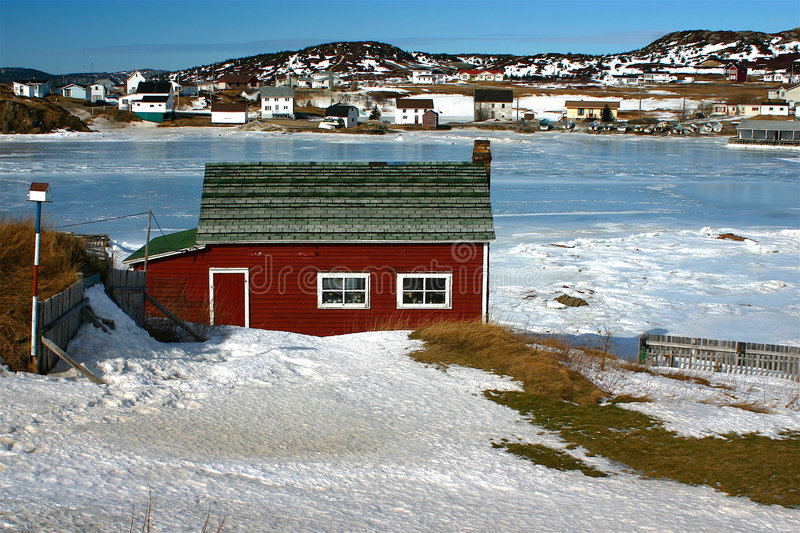 Red stage in Twillingate stock images