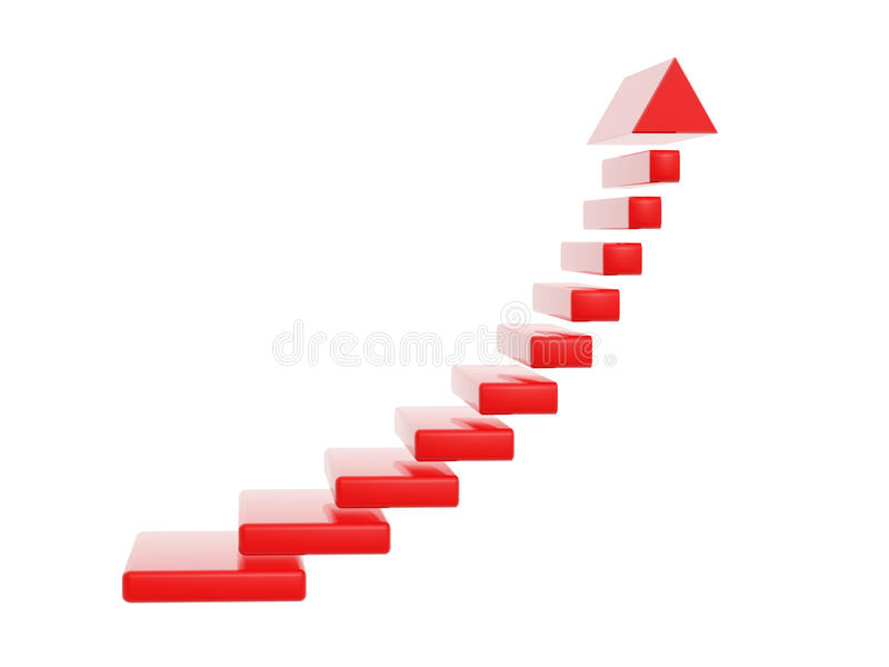 Download Red Stair Steps Grow Up Arrow Stock Illustration   Image: 40100742