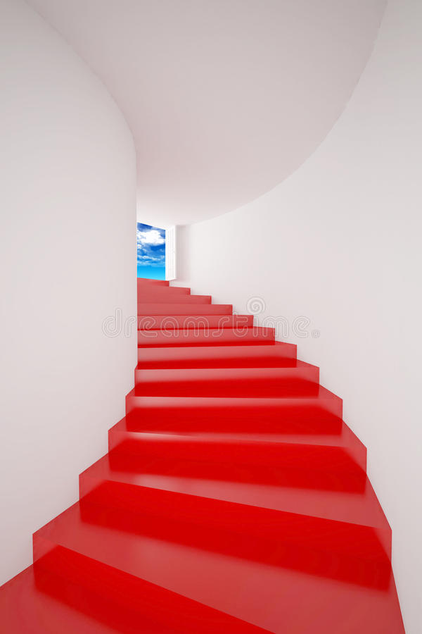 Download Red Stair  Up To Sky Success Stock Illustration - Image: 30238969