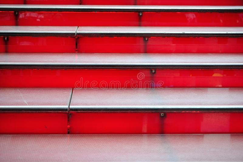 Red Stairs. Details of the red staircase at Duffy Square in Times Square, New York City royalty free stock images