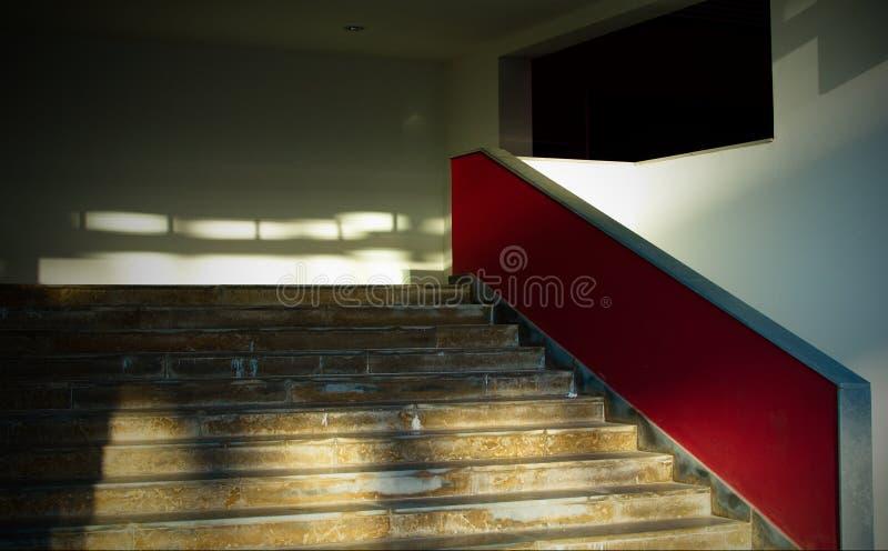 Red stairway stock photo