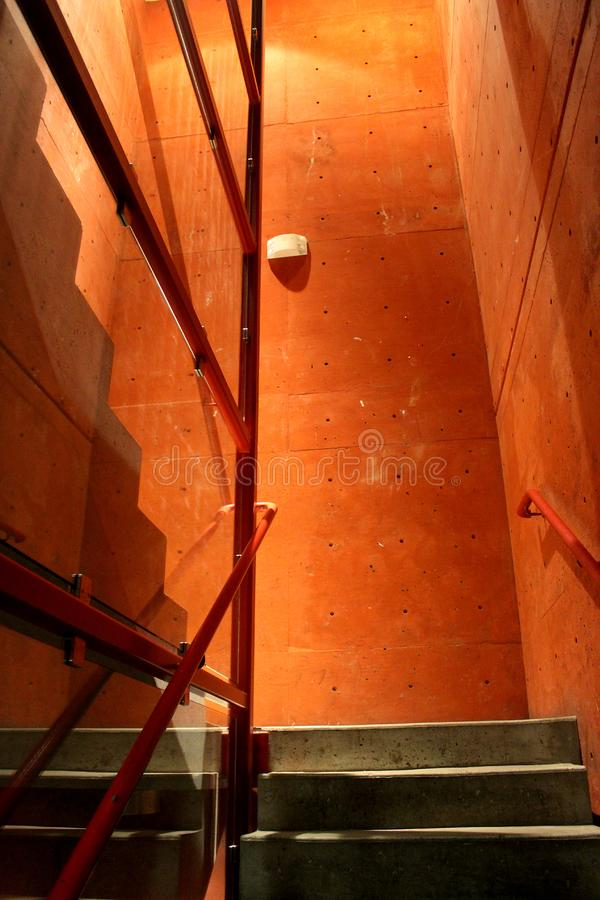 Red Stairway with Handrails and Lights stock photo