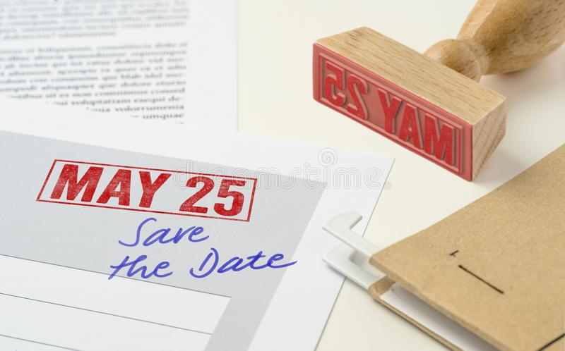 May 25. A red stamp on a document - May 25 royalty free stock photos