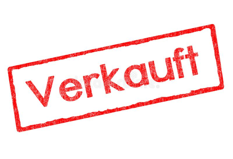 Red stamp with lettering verkauft in german isolated on white background vector illustration