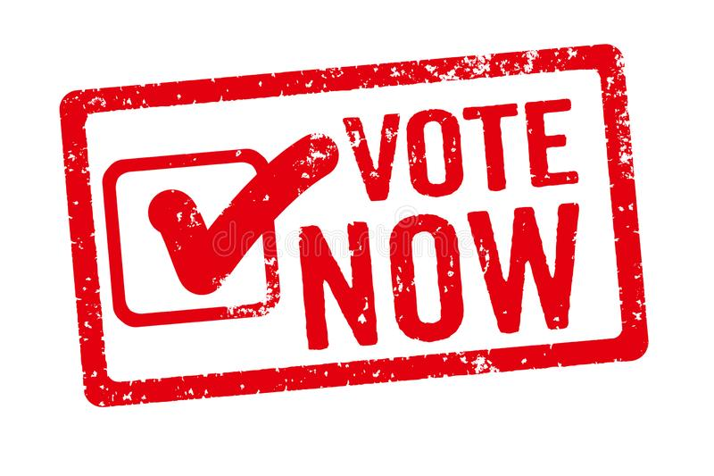 A red stamp on a white background - Vote now royalty free illustration