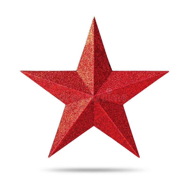 Red Star avec la texture de scintillement d'isolement sur le fond blanc Décoration de Noël photographie stock libre de droits