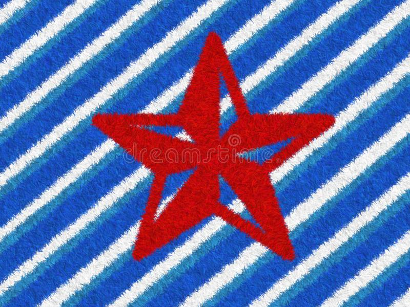 Red Star with blue and white stripes Fur texture carpet design for a Christmas Holiday background or paper element scrapbook. royalty free stock photo