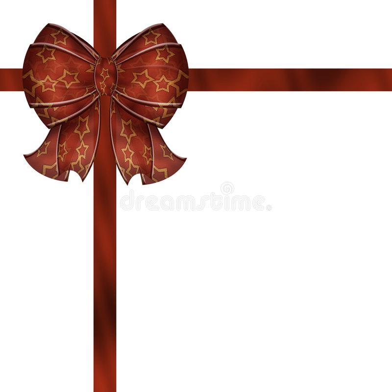 Red Star Bow And Gift Ribbon Stock Images