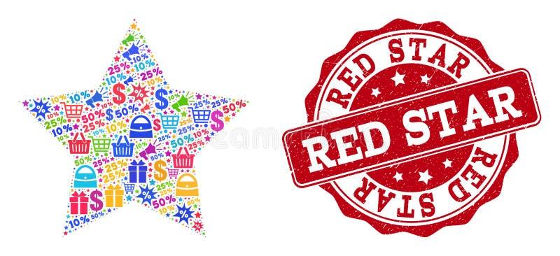Red Star-Collage van Mozaïek en Gekraste Zegel voor Verkoop vector illustratie