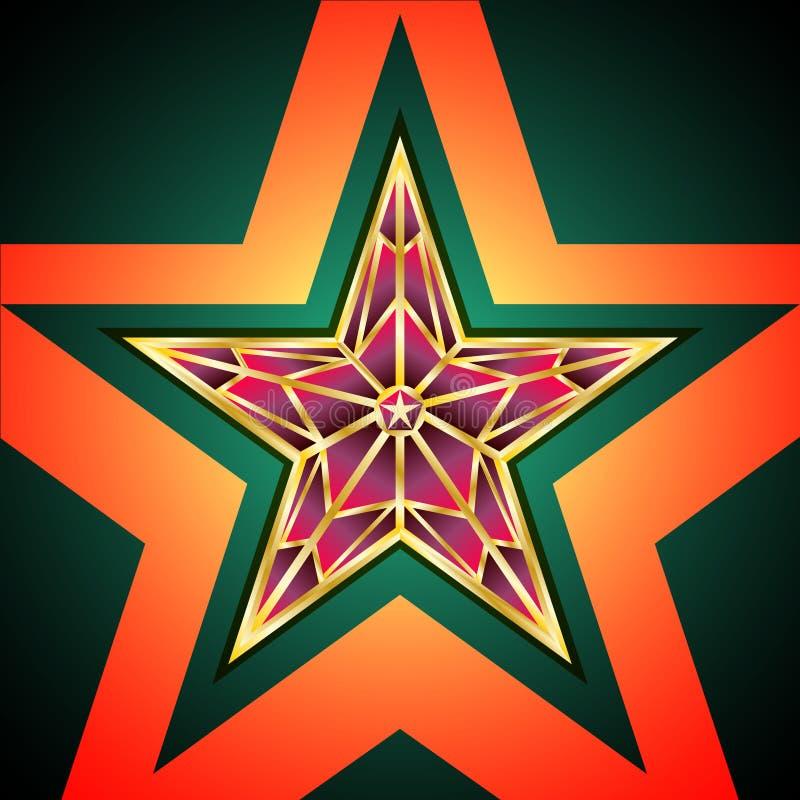 Red Star dourado ilustração stock