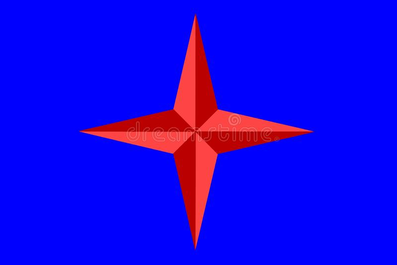 Red star with four rays. On the dark blue background stock image