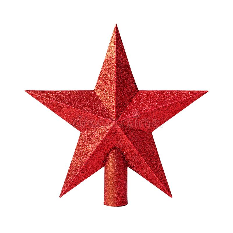 Red star with glitter material isolated on white background. Christmas decoration for top of christmas tree. royalty free stock photo