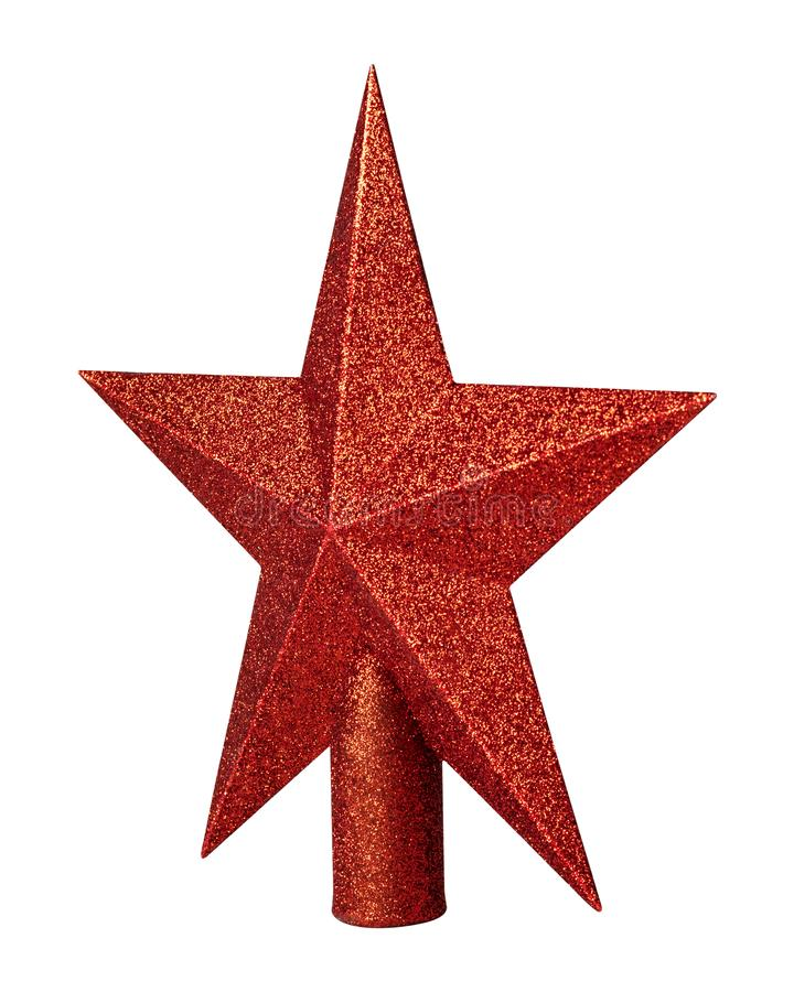 Red star with glitter material isolated on white background. Christmas decoration for top of christmas tree. royalty free stock photos