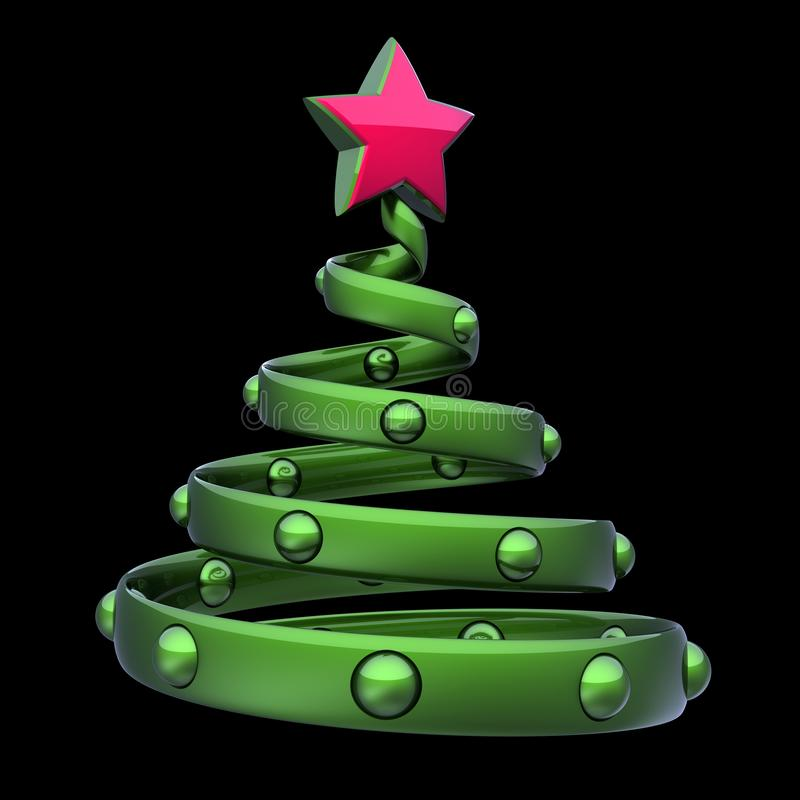 Red star green stylized Christmas tree Xmas balls decoration stock photos