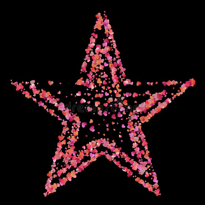 Red star of many small pink hearts stock illustration