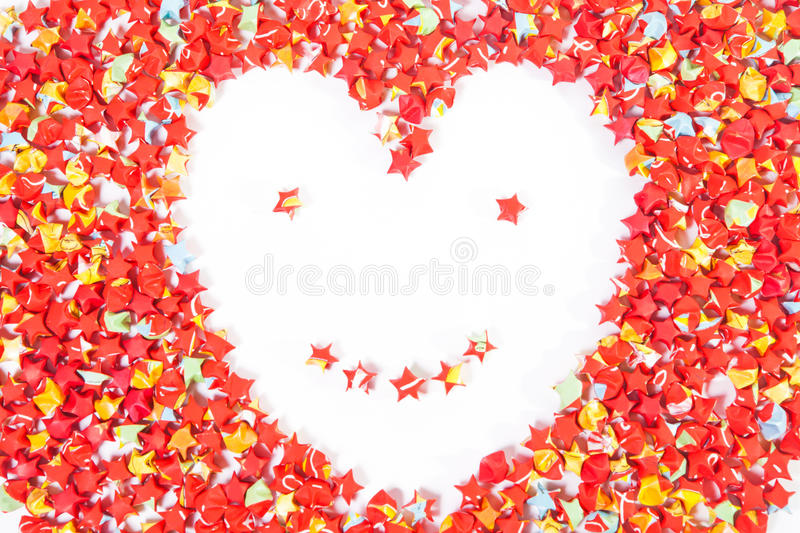 red star paper heart shape smile face on white royalty free stock photos