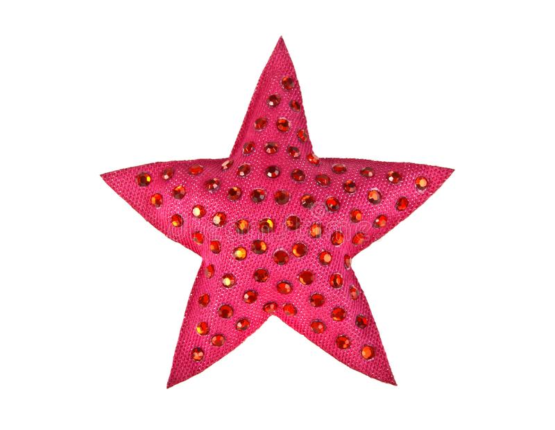 Red Star with rhinestones on white background. Top view stock images