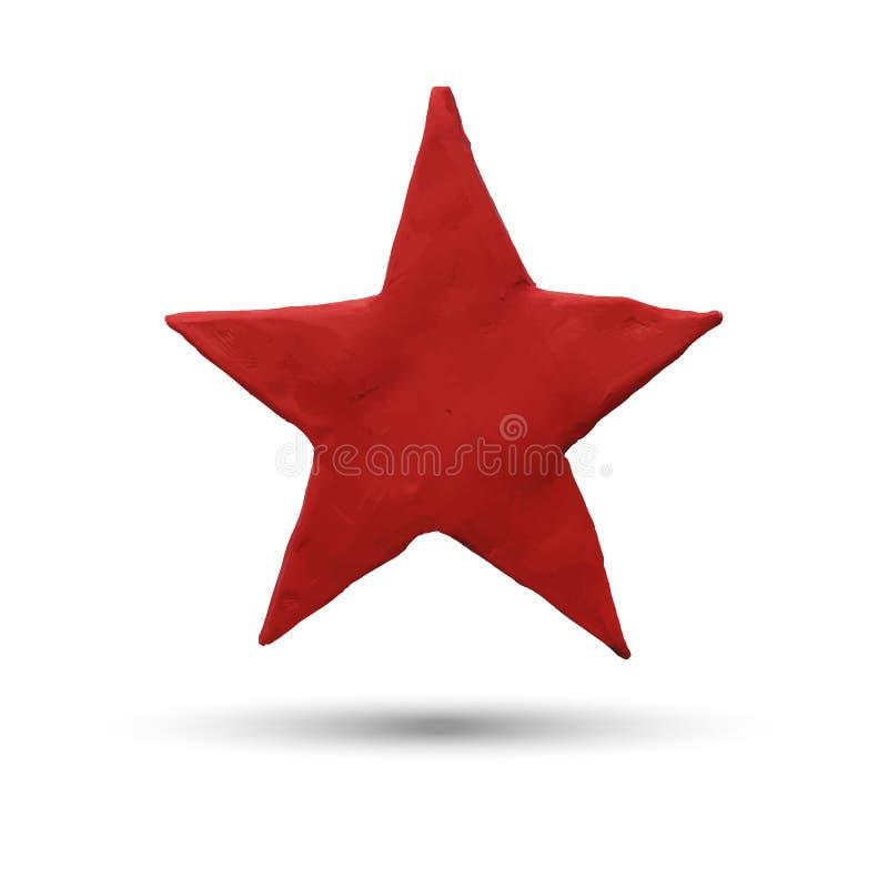 Red star on white background. Vector illustration. Plasticine modeling royalty free illustration
